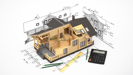 The three-dimensional image of a modern wooden house on a background of drawings.  Image includes, eraser, pencil and calculator.