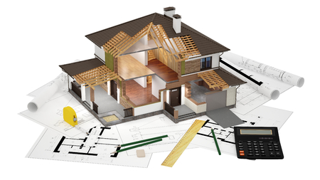drawings image: A conceptual image of a modern cottage, three-dimensional models and drawings Stock Photo