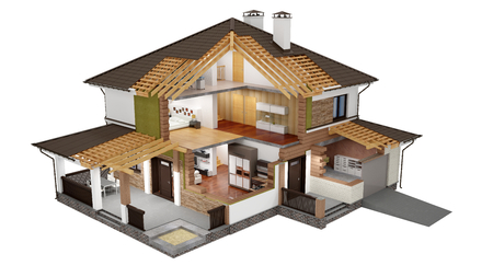 A conceptual image of a modern cottage with furniture, three-dimensional models 版權商用圖片