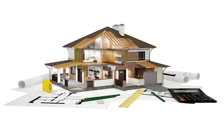 drawings image: A conceptual image of a modern cottage with furniture, three-dimensional models and drawings