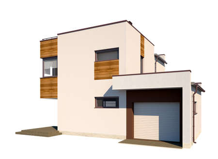 High-quality architectural visualization of a modern house with a flat roof with an attached garage. The facade of the house is made in plaster with decorative inlays of wood. The image of the house isolated on white background