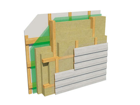 3d render image of insulated frame house wall. Detailed concept of insulation, showing all layers. Stock Photo