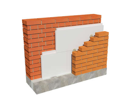 3d rendering image of insulated brick house wall. Detailed concept of xps insulation, showing all layers.