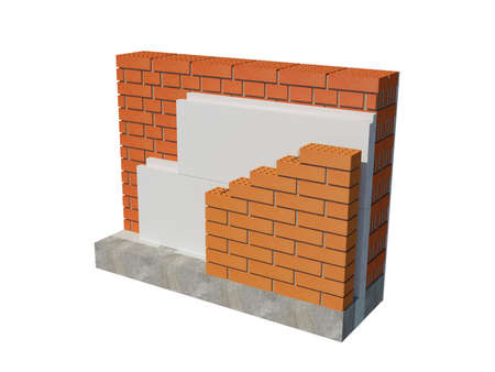 3d rendering image of xps insulated brick house wall. Detailed concept of insulation, showing all layers.