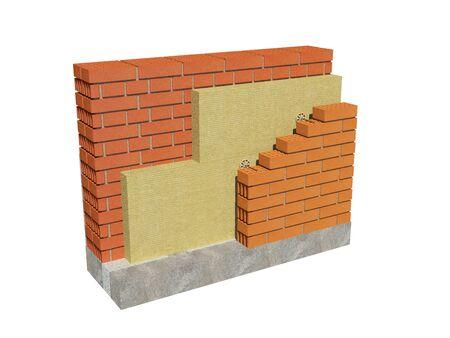 Immagine della rappresentazione 3d della parete isolata della casa con mattoni a vista. Concetto dettagliato di isolamento, che mostra tutti gli strati.