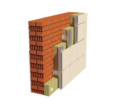 3D-Renderbild der isolierten Hauswand mit belüfteter Fassade. Detailliertes Isolationskonzept mit Darstellung aller Schichten. Standard-Bild