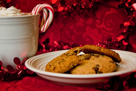 Holiday Hot Chocolate and Cookies on Red Background from the Side photo