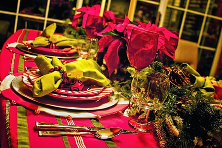 Holiday Celebration Dinner Table Setting Stock Photo - 11322936