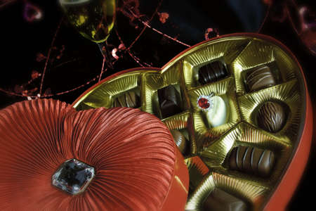 Valentine Heart of Chocolates with Champagne and Ring