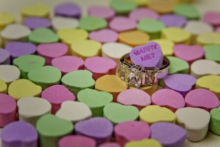 Conversation Hearts Marriage Proposal with Ring photo