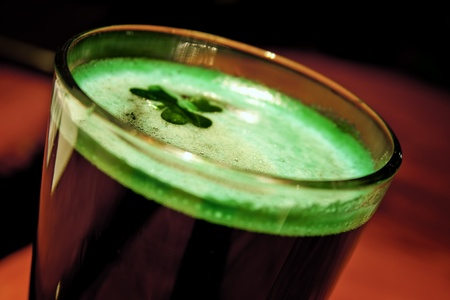 Green Beer with a Floating Shamrock photo