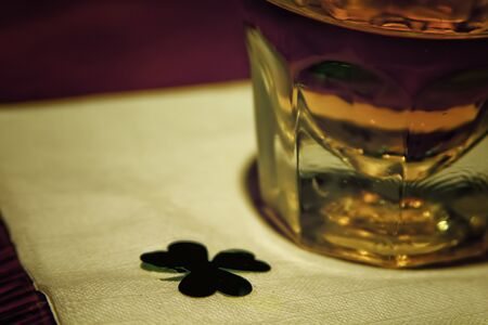 saint patty's: Whiskey Drink on Napkin with Shamrock