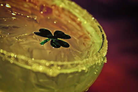 saint patty's: Green Margarita with Floating Shamrock Stock Photo