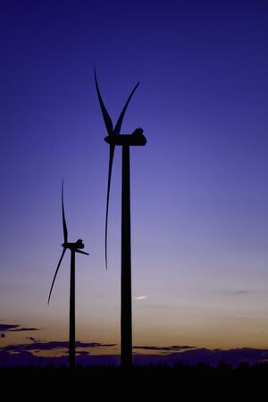 Two Wind Turbine Renewable Energy Dusk Portrait Stock Photo - 13360026