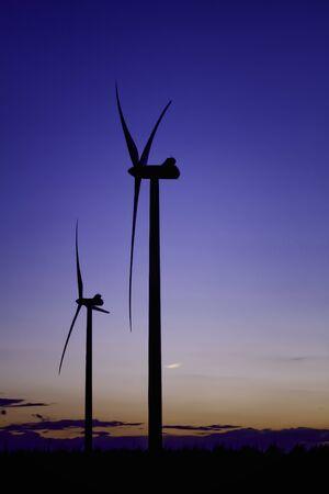 Two Wind Turbine Renewable Energy Dusk Portrait Stock Photo - 13360026