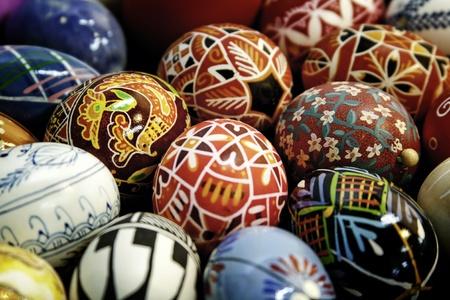 pascuas navide�as: Decorado a Mano huevos de Pascua Foto de archivo