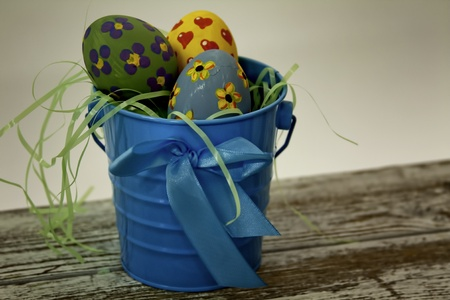 Easter Eggs in a Blue Bucket photo