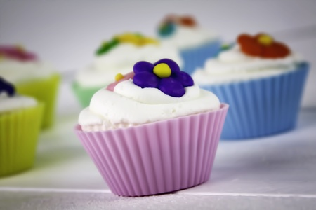 Multi-Colored Flower Cupcakes