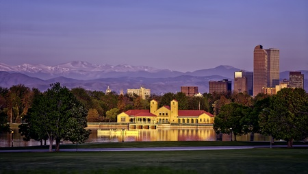 Denver Skyline from City Park at Sunrise Stock Photo