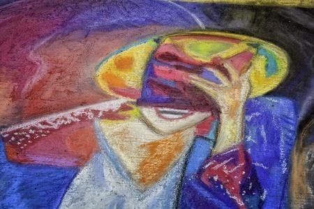 michael jackson: Sidewalk Chalk Art Image of Michael Jackson