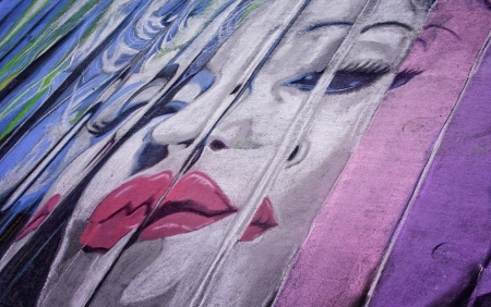 Image of Marilyn Monroe Drawn in Chalk at the Denver Chalkart Festival Editorial