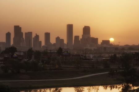 denver skyline at sunrise: Denver Skyline with Hazy Skies