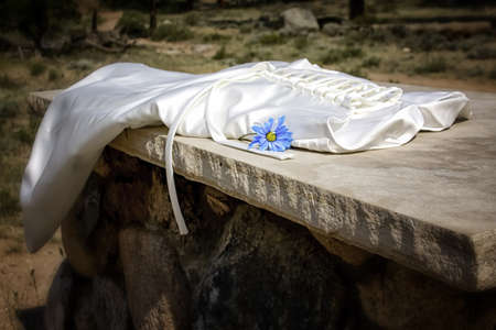 alter: Wedding dress laying on alter with blue flower, wide angle Stock Photo