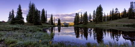 Panorama Shot of Sunrise at Paradise Divide Near Crested Butte Colorado Stock Photo
