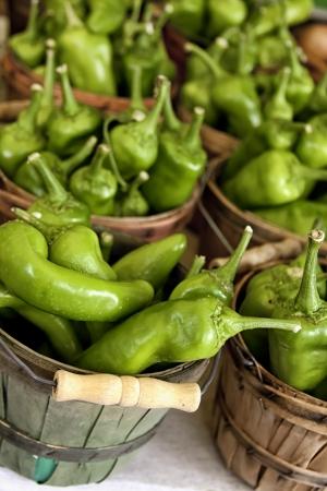 bushel: Bushel baskets of jalapeno peppers for sale on white table at farmer s market portrait orientation