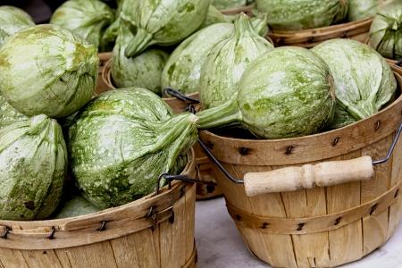 bushel: Bushel baskets of fresh calabacitas on sale at a farmer s market