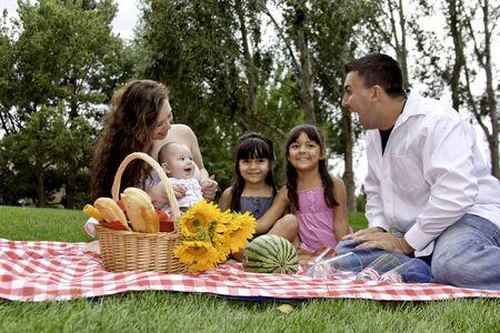 Family Having Picnic in the Park photo