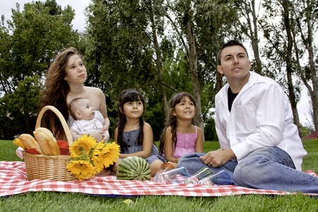 Family Having Picnic in the Park in the Evening photo