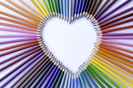 Colored pencil heart rainbow centered photo