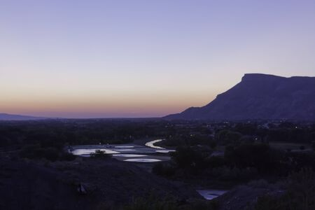 Sunset over Colorado River in Grand Junction Colorado Stock Photo