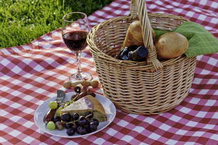 Picnic in the park on green grass with wine and cheese photo