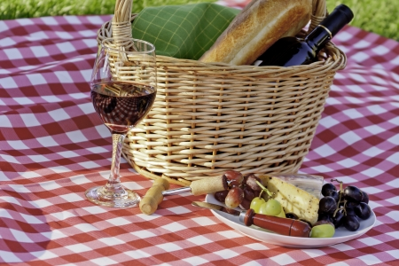 Picnic in the park with wine and cheese on red and white table cloth photo