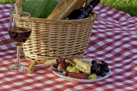 Picnic in the park with wine and cheese Banco de Imagens