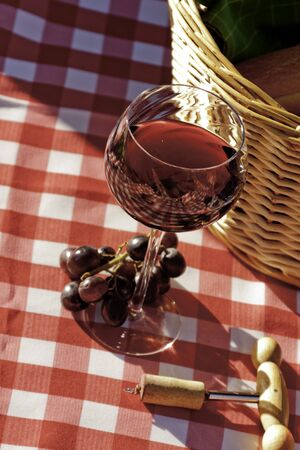 co cork: Sunlit wine class on red and white picnic blanket