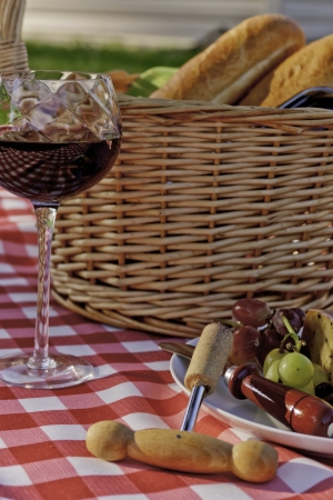 co cork: Wine, cheese, grapes and bread picnic on red and white table cloth