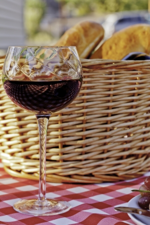Wine, cheese, grapes and bread picnic on red and white table cloth photo