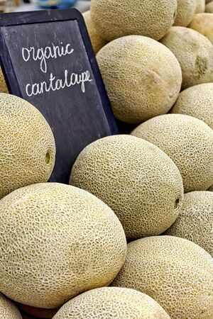 Organic cantaloupes on table with black chalkboard at local market photo