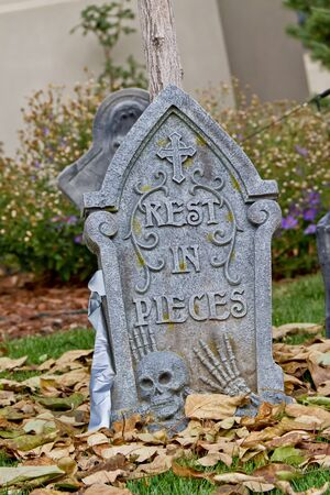 Halloween tombstone decoration, rest is pieces RIP photo