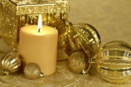 Christmas celebration decorations in gold Stock Photo - 16468910