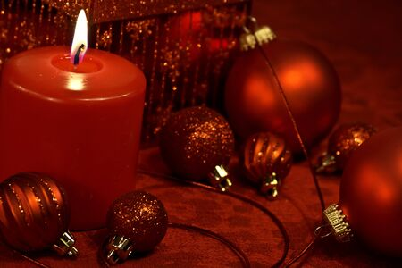 Festive Christmas decorations in red on table