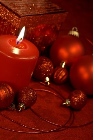 Red Christmas decotations on festive table