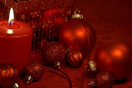 Red glitter Christmas decorations on table Stock Photo - 16510056