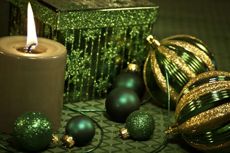 Green Christmas decorations on festive holiday table