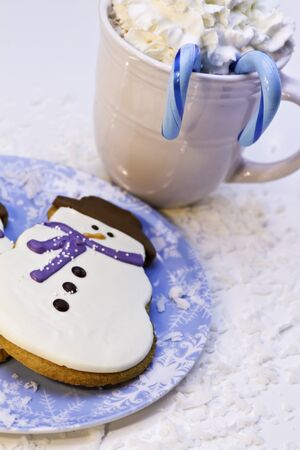Christmas cookies on blue plate with hot chocolate photo