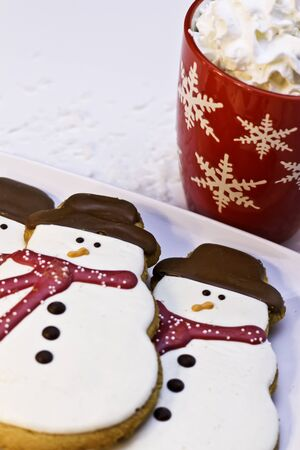 Snowman cookies for Santa and hot chocolate photo