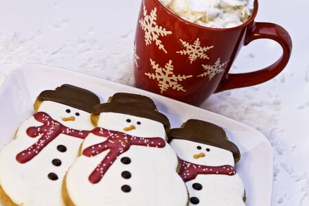 Christmas decorate snowmen cookies on white plate photo